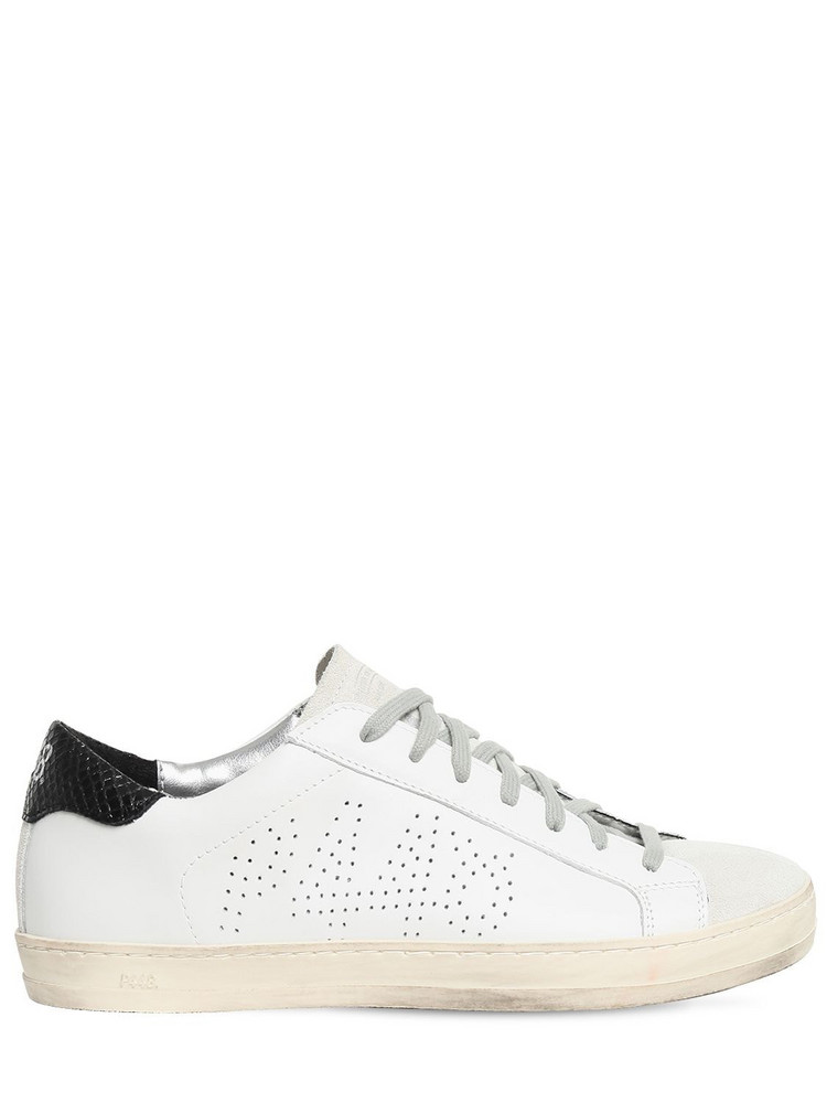 P448 20mm John Leather & Suede Sneakers in black / white
