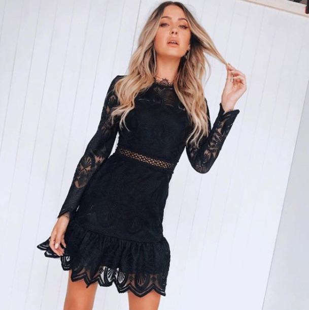dress black lace mini long sleeves cut-out frill