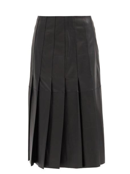 Joseph - Semry Pleated Leather Skirt - Womens - Black