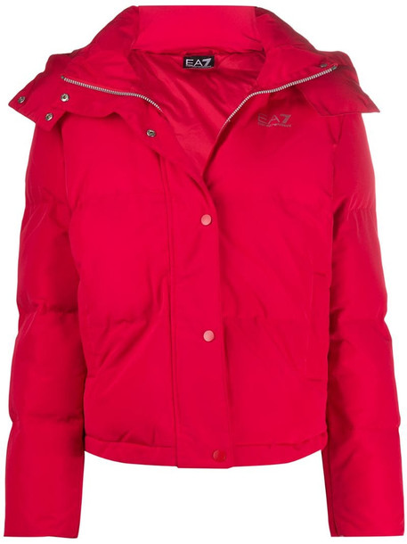 Ea7 Emporio Armani hooded padded jacket in red