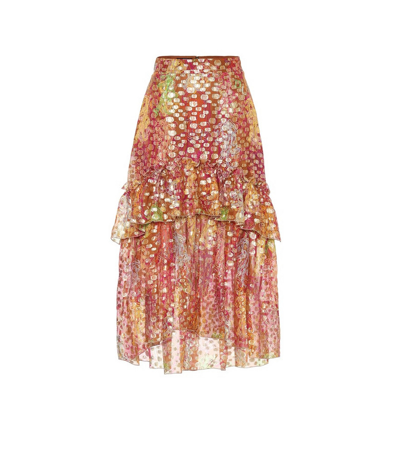 Dundas Silk-blend jacquard midi skirt