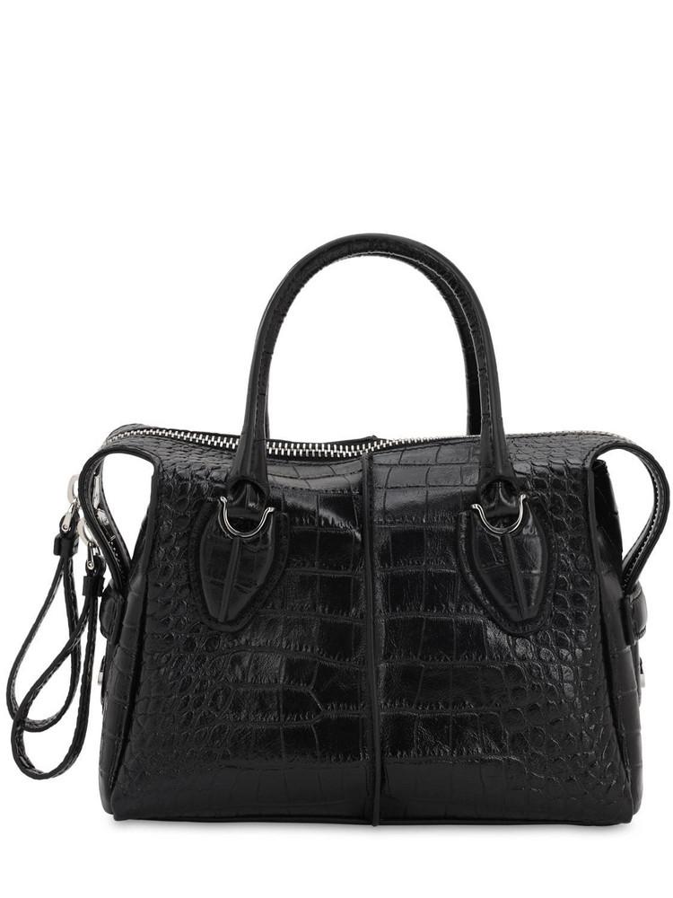 TOD'S Croc Embossed Leather Top Handle Bag in black