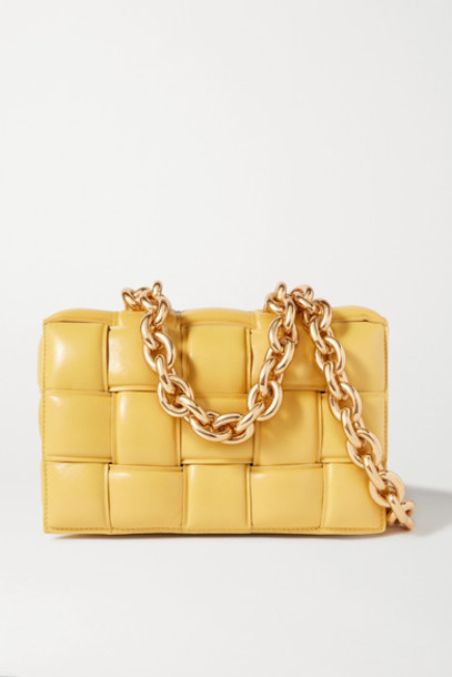 Bottega Veneta - Cassette Chain-embellished Padded Intrecciato Leather Shoulder Bag - Yellow