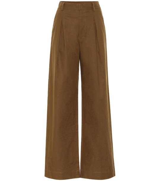 Staud Bruco high-rise linen-blend pants in brown