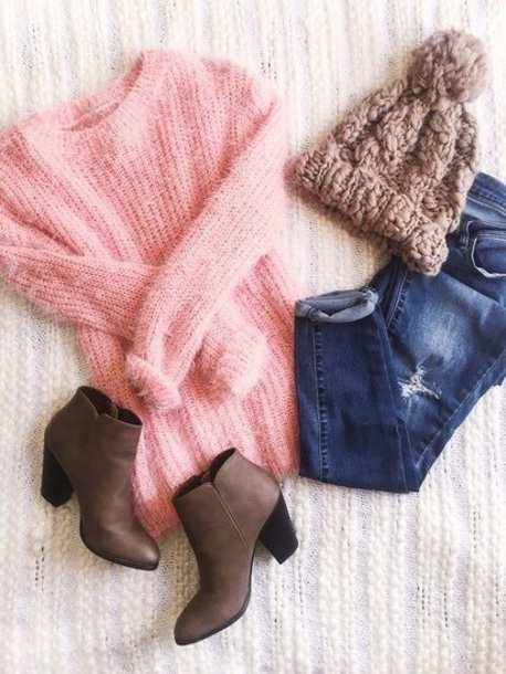 hat beanie brown booties pink sweater jeans outfit