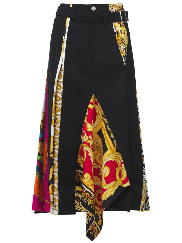 JUNYA WATANABE Printed Wool & Silk Skirt in black