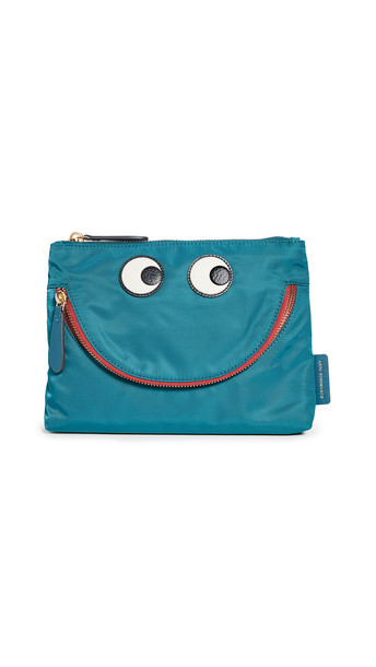 Anya Hindmarch Happy Eyes Pouch in petrol