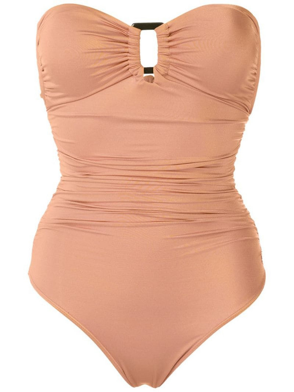 Brigitte Margareth draped swimsuit in neutrals