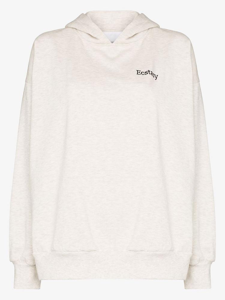 Ashish slogan embroidered cotton blend hoodie in grey