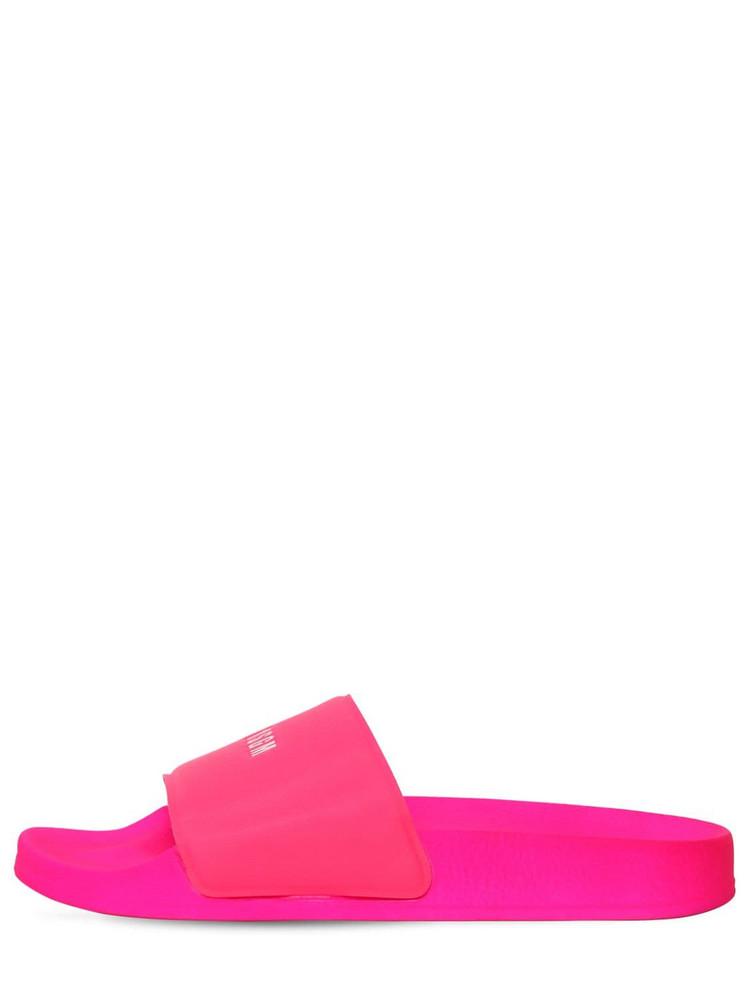 MSGM 10mm Micro Logo Rubber Slide Sandals in fuchsia