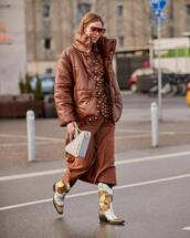 jacket,puffer jacket,brown jacket,leather jacket,cowboy boots,midi skirt,blazer,grey bag,balenciaga