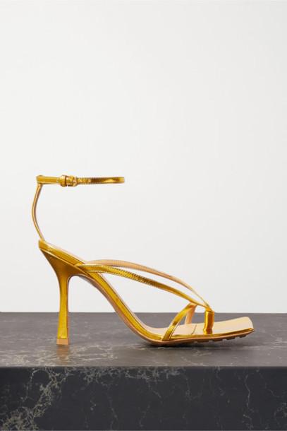 Bottega Veneta - Metallic Leather Sandals - Gold