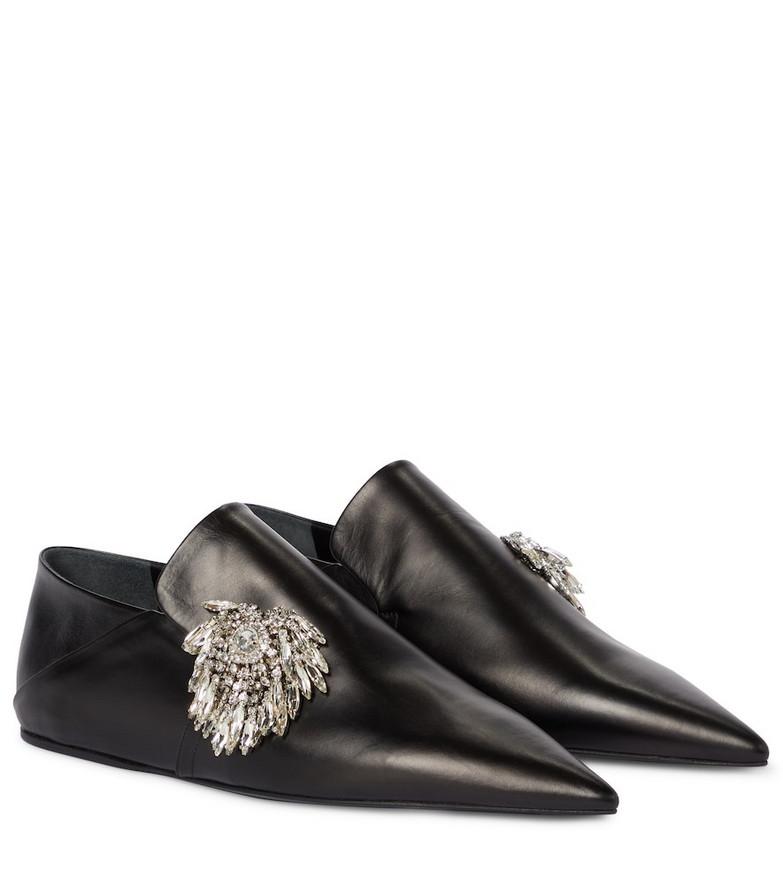 Jil Sander Crystal-embellished leather ballet flats in black