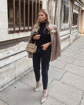 jeans,black jeans,ankle boots,suede,zara,blazer,bag,black sweater,turtleneck sweater