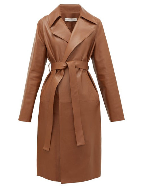 Inès & Maréchal - Gustave Leather Trench Coat - Womens - Mid Brown