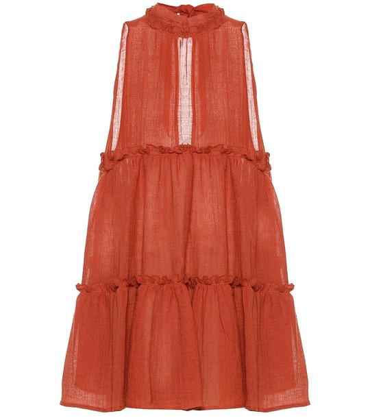 Lisa Marie Fernandez Erica linen-blend gauze minidress in red