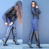 shoes,knee high boots,black,stilleto heels,pointed toe,patent leather