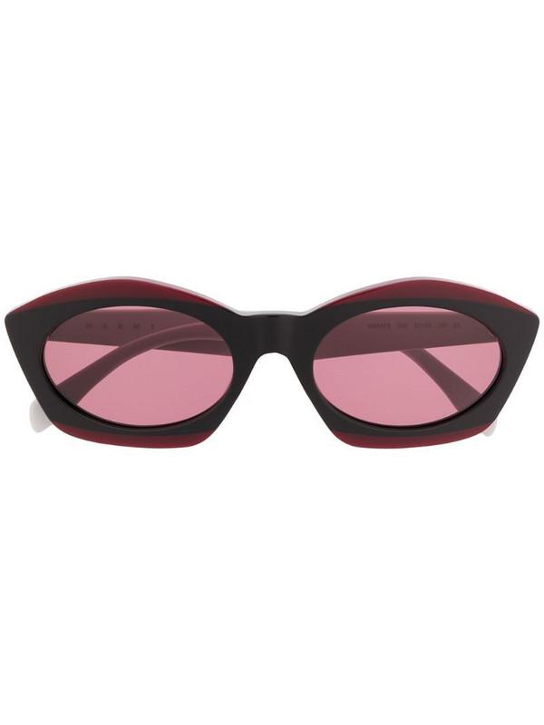 Marni Eyewear cat eye contrast sunglasses in red