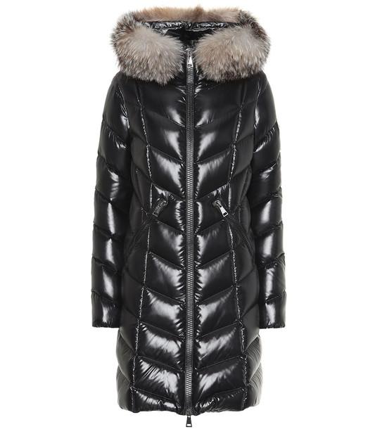 Moncler Fulmarus fur-trimmed down coat in black