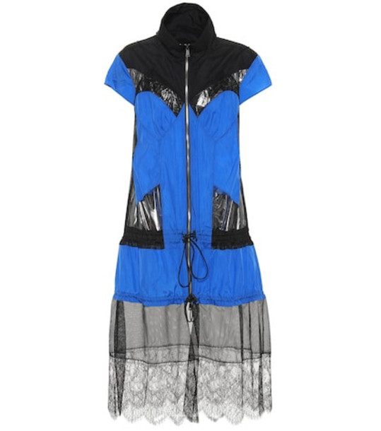 Maison Margiela Mesh-trimmed jacket in blue