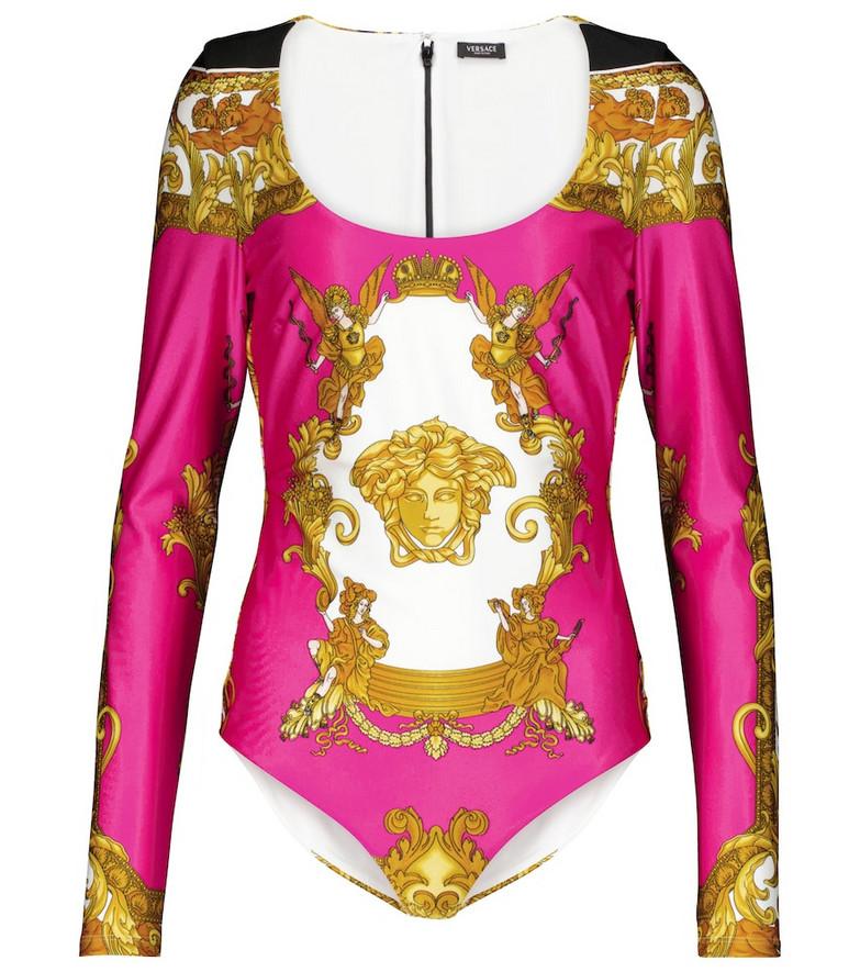 Versace Medusa Renaissance printed bodysuit in gold