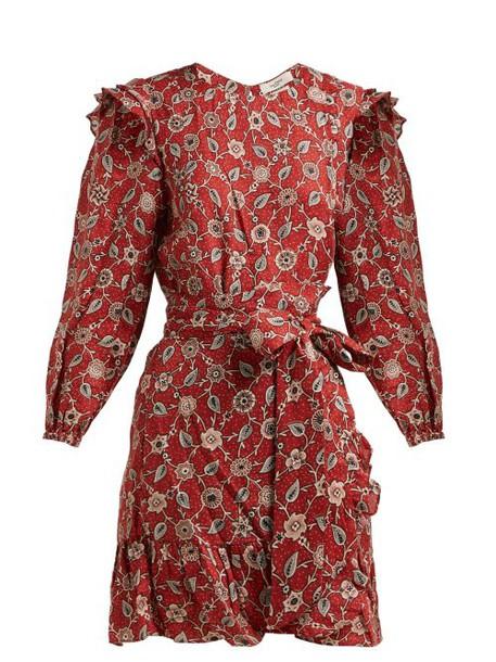 Isabel Marant Étoile - Telicia Floral Print Linen Mini Dress - Womens - Red Multi