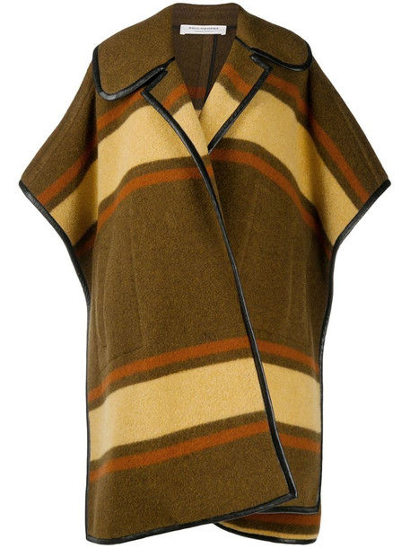 Philosophy Di Lorenzo Serafini block stripe pattern cape in green