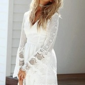 dress,white,lace,long sleeves,mini dress,tie up,open back