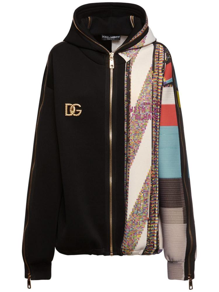 DOLCE & GABBANA Jersey Printed Zip Up Logo Hoodie in black / multi