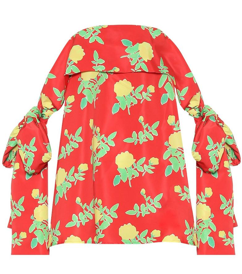 Bernadette Holly off-shoulder floral satin minidress in red