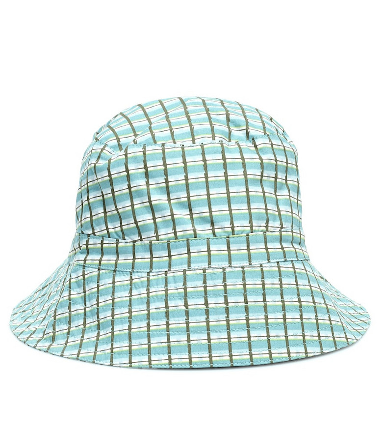 Caramel Baby Wembley checked cotton hat in green