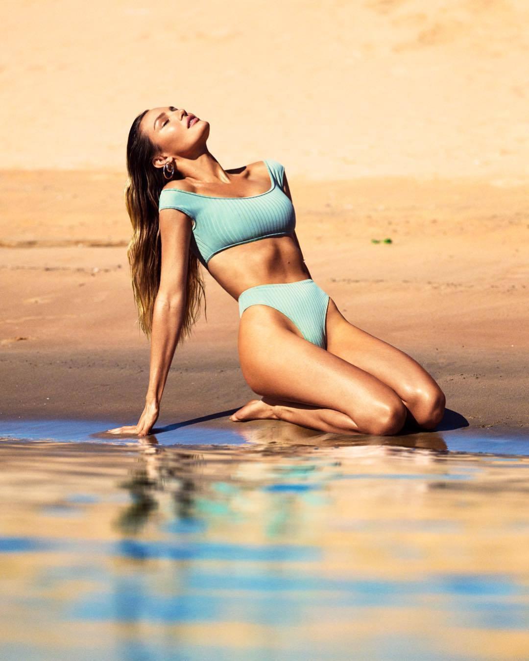swimwear light blue candice swanepoel bikini top bikini bottoms bikini model