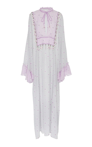 MY BEACHY SIDE Embroidered Voile Caftan Maxi Dress in grey