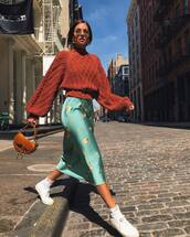 dress,floral dress,midi dress,zara,white sneakers,dior bag,brown bag,knitted sweater