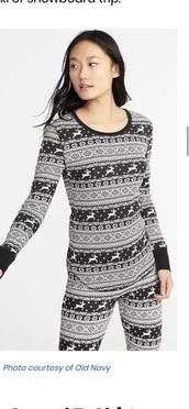 pajamas,thermal pajamas,black and white,christmas,old navy
