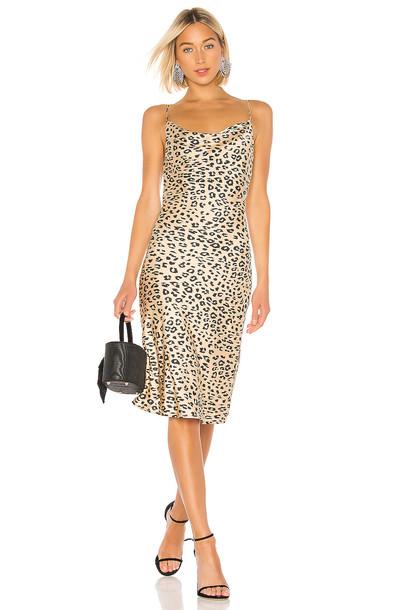 Bardot Leopard Slip Dress in tan