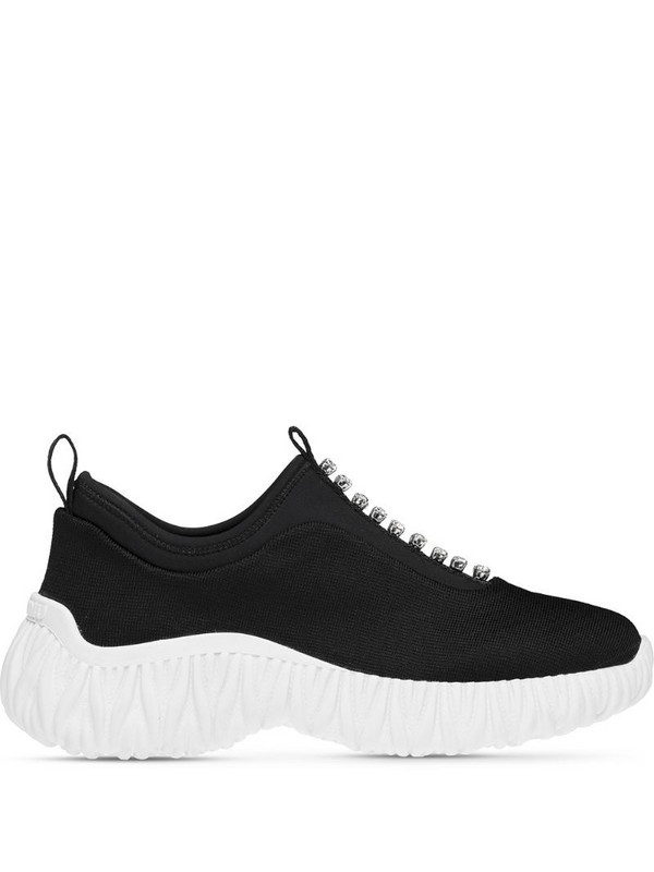 Miu Miu stretch knit slip-on sneakers in black