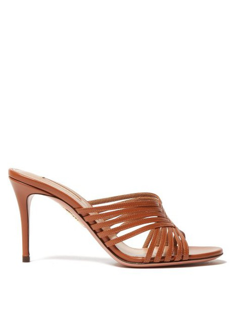 Aquazzura - Hydra Cross Strap Leather Mules - Womens - Tan