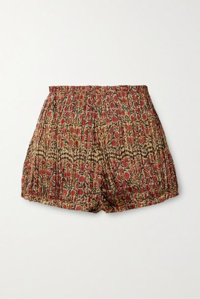 Khaite - Hilary Pleated Floral-print Twill Shorts - Gold