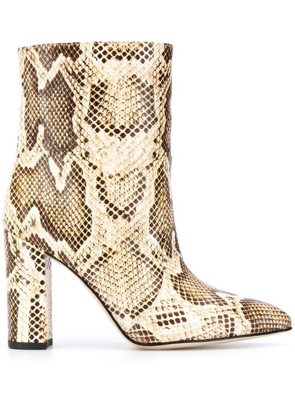 Paris Texas pointed snakeskin effect boots in neutrals