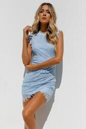 dress,lace dress,baby blue,lace,mini dress