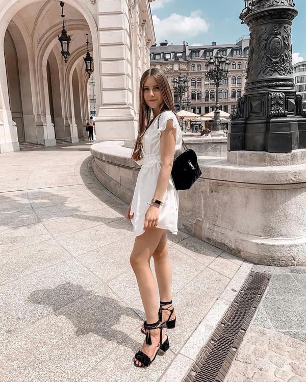 bag black bag ysl bag black sandals white dress mini dress