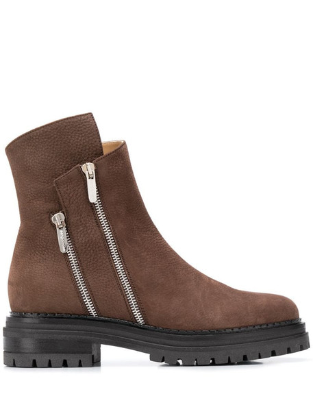 Sergio Rossi double zipped ankle boots in brown