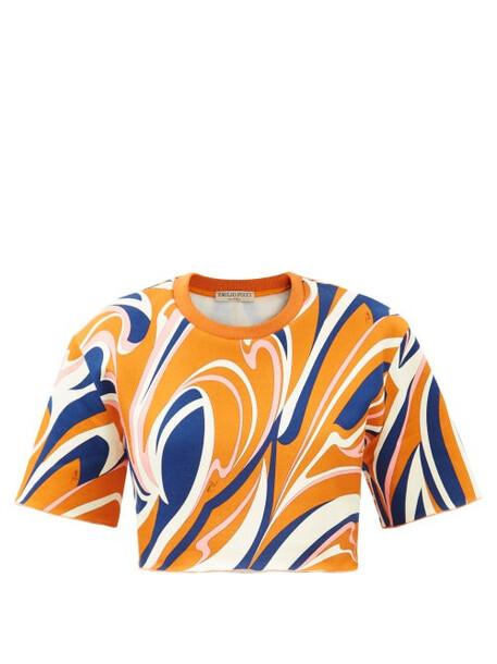 Emilio Pucci - Vortici-print Cotton-jersey Cropped T-shirt - Womens - Navy Print