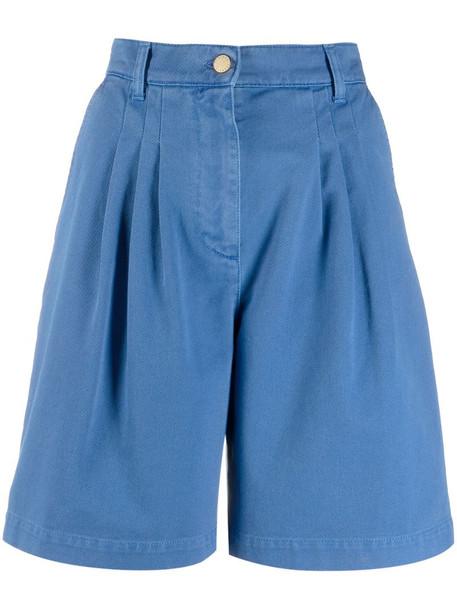 Alberta Ferretti wide leg denim shorts in blue