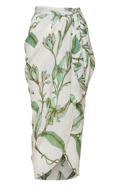 Johanna Ortiz Botanist Guide Printed Poplin Skirt in green