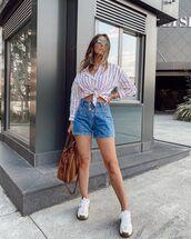 top,shirt,striped shirt,denim shorts,white sneakers,brown bag