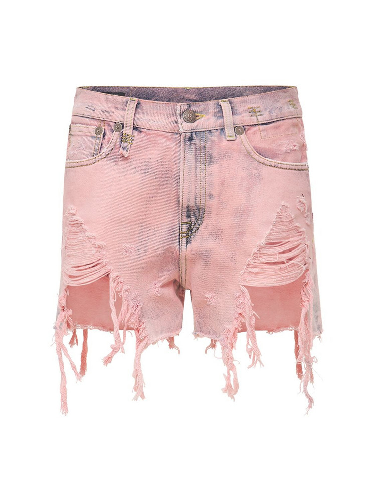 R13 Shredded Slouch Denim Shorts in pink