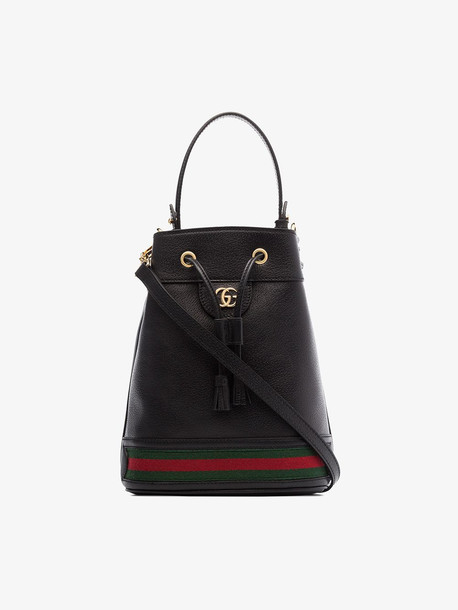 Gucci black ophidia small leather bucket bag