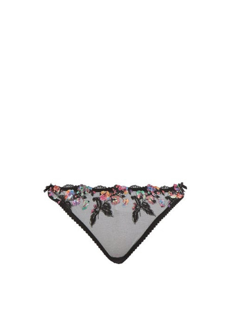 Agent Provocateur - Ivey Floral Embroidered Thong - Womens - Black Multi